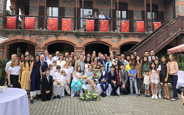 Bnai mitzvah students and the Jewish community of Shanghai celebrating at the Ohel Moshe synagogue, now Shanghai Jewish Refugee Museum, in October 2019. (Courtesy Hanna Minsky/ Kehilat Shanghai)