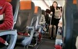 Screen capture from video of a passenger leaving a flight from Tel Aviv to Berlin after the Health Ministry broadened self-quarantine demands for travelers, March 4, 2010. (Twitter)