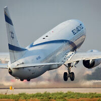 An illustrative photo of an El Al plane takes off from Ben Gurion Airport on September 3, 2014. (Moshe Shai/Flash90)