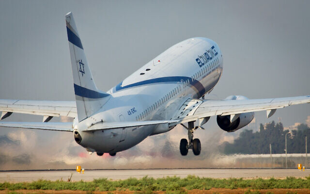 An illustrative photo of an El Al plane taking off from Ben Gurion Airport on September 3, 2014. (Moshe Shai/Flash90)