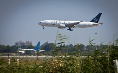 An illustrative photo of a United Airlines plane takes off from Ben Gurion International Airport on June 18, 2013. (Moshe Shai/Flash90)