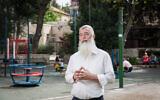 Rabbi Dov Singer at a playground in Jerusalem, on April 5, 2016 (Hadas Parush/Flash90)