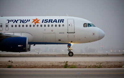 An Israir flight seen taking off from Ben Gurion International Airport, on March 24, 2018. (Shai/FLASH90`0