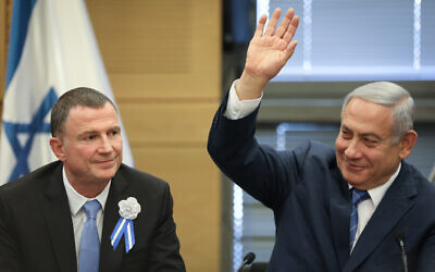 Prime Minister Benjamin Netanyahu (right) with Knesset Speaker Yuli Edelstein at a Likud party faction meeting in the Knesset, on April 30, 2019. (Noam Revkin Fenton/Flash90)