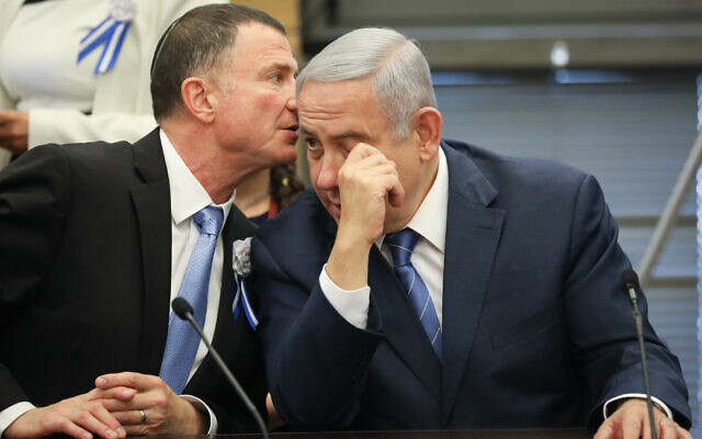 Prime Minister Benjamin Netanyahu with Knesset Speaker Yuli Edelstein at a Likud party faction meeting in the Knesset, on April 30, 2019. (Noam Revkin Fenton/Flash90)