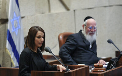 Then-Blue and White MK Gadeer Mreeh (left) in the Knesset on May 20, 2019. (Noam Revkin Fenton/Flash90)