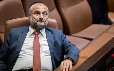 Shas MK Moshe Abutbul at the Knesset on September 25, 2019. (Yonatan Sindel/Flash90)