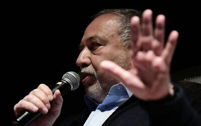 Israel Beytenu chairman Avigdor Liberman speaks at an event in Glilot, on December 20, 2019. (Tomer Neuberg/Flash90)