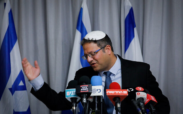 Itamar Ben Gvir, head of the Otzma Yehudit (Jewish Strength) party holds a press conference in Jerusalem on March 1, 2020. (Olivier Fitoussi/Flash90)