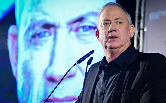 Blue and White party leader Benny Gantz speaks in Rehovot, February 18, 2020. (Avshalom Shoshani/Flash90)
