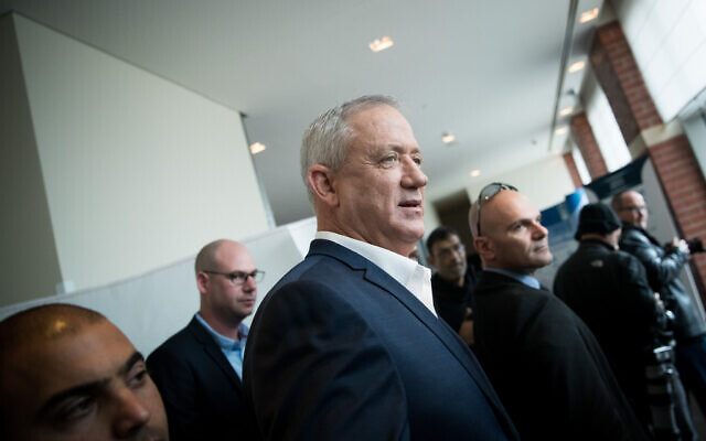 Blue and White leader Benny Gantz attends a mayors' conference in Kiryat Anavim, near Jerusalem, on February 26, 2020. (Yonatan Sindel/Flash90)