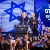 Blue and White chairman Benny Gantz speaking at a party rally in Tel Aviv, February 29, 2020. (Miriam Alster/Flash90)