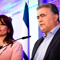 Gesher head Orly Levy-Abekasis (left), with Labor leader Amir Peretz in Tel Aviv on election night, March 2, 2020. (Avshalom Sassoni/Flash90)