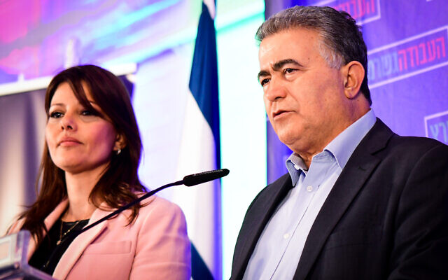 The heads of the Gesher and Labour factions Orly Levy- Abekasis and Amir Peretz, at their joint party headquarters in Tel Aviv on election night, March 2, 2020. (Avshalom Sassoni/Flash90)