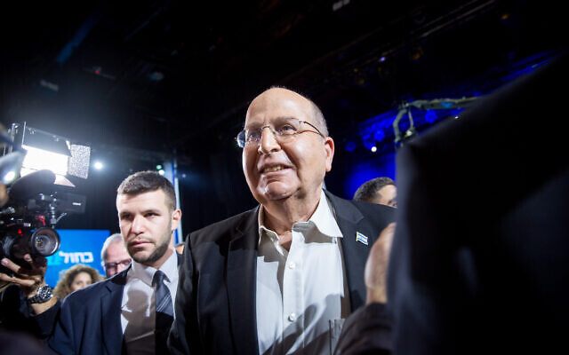 Blue and White parliament member Moshe Ya'alon arrives to the Blue White party headquarters in Tel Aviv, on election night, March 3, 2020 (Miriam Alster/Flash90)