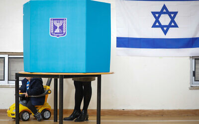 Israelis cast their ballot at a voting station in Jerusalem, March 2, 2020. (Olivier Fitoussi/Flash90)
