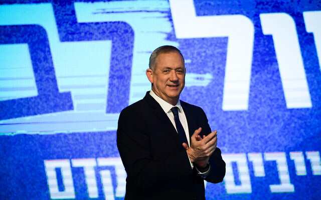 Head of the Blue White party Benny Gantz speaks to supporters, at the party headquarters in Tel Aviv, on election night, March 3, 2020. (Tomer Neuberg/Flash90)