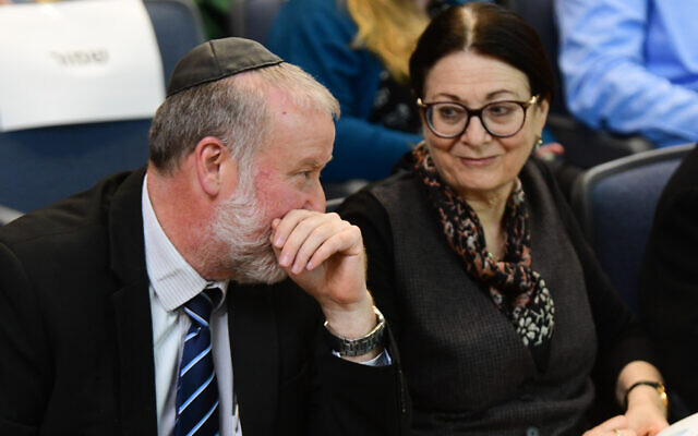 Attorney General Avichai Mandelblit (L) and Supreme Court Chief Justice Esther Hayut at Bar Ilan University on March 4, 2020. (Flash90)