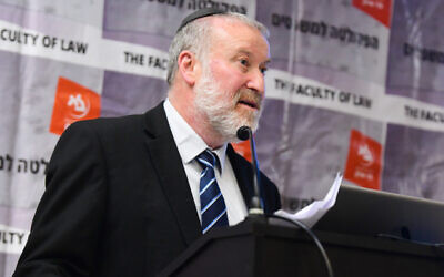 Attorney General Avichai Mandelblit speaks at Bar-Ilan University. March 4, 2020 (FLASH90)