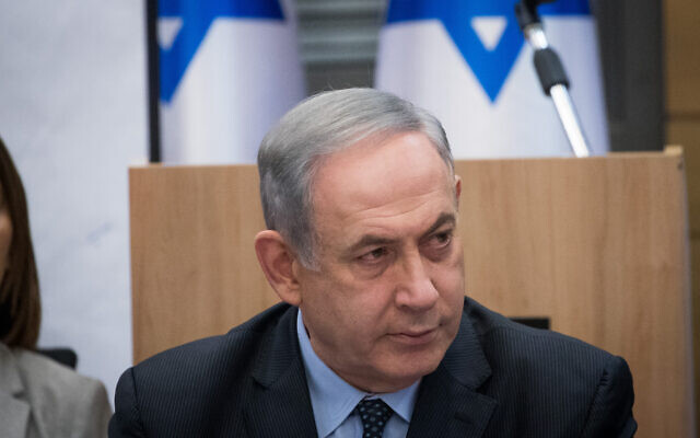 Prime Minister Benjamin Netanyahu meets with the heads of the right-wing parties, following the results of elections, March 4, 2020. (Yonatan Sindel/Flash90)