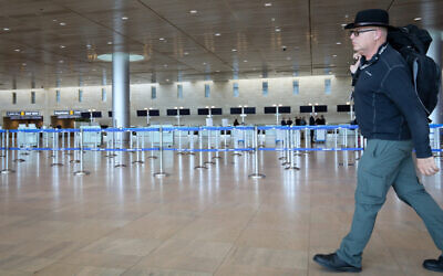 Empty departure halls at Ben Gurion Airport. on March 4, 2020. (Yossi Zamir/Flash90)