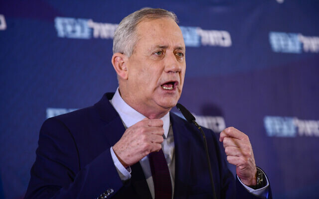 Blue and White chairman Benny Gantz gives a televised statement in Ramat Gan on March 7 2020. (Tomer Neuberg/Flash90)
