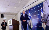 Blue and White party leader Benny Gantz holds a press conference at Kfar Maccabia on March 7 2020. (Tomer Neuberg/Flash90)