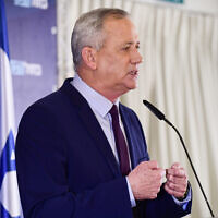 Illustrative: Blue and White party chief Benny Gantz holds a press conference at Kfar Maccabia on March 7 2020. (Tomer Neuberg/Flash90)