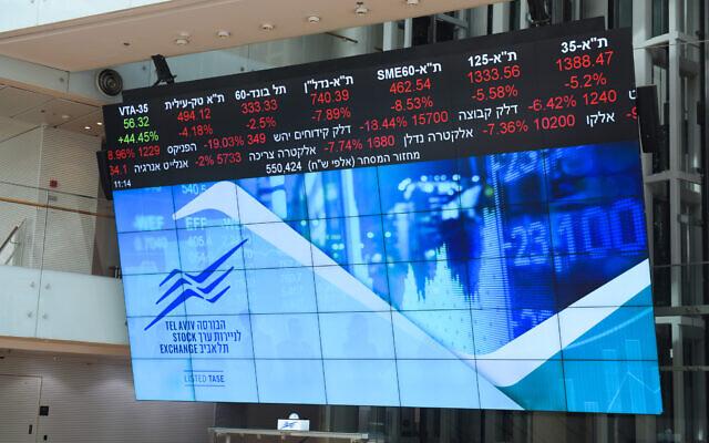 A stock market ticker screen in the lobby of the Tel Aviv Stock Exchange, March 9, 2020. (Avshalom Sassoni/Flash90)