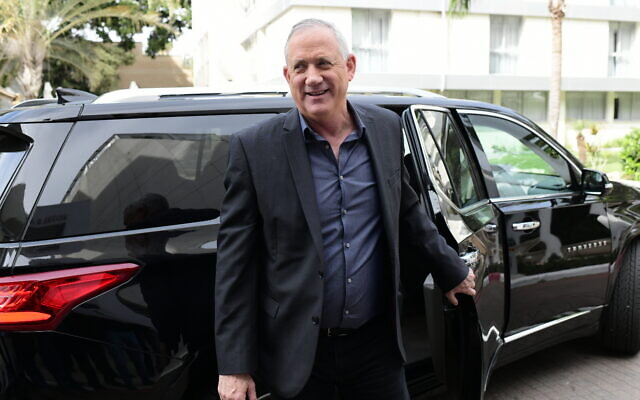 Head of the Blue and White party Benny Gantz arrives for a meeting with Yisrael Beytenu leader Avigdor Liberman in Ramat Gan on March 9, 2020. (Tomer Neuberg/Flash90)