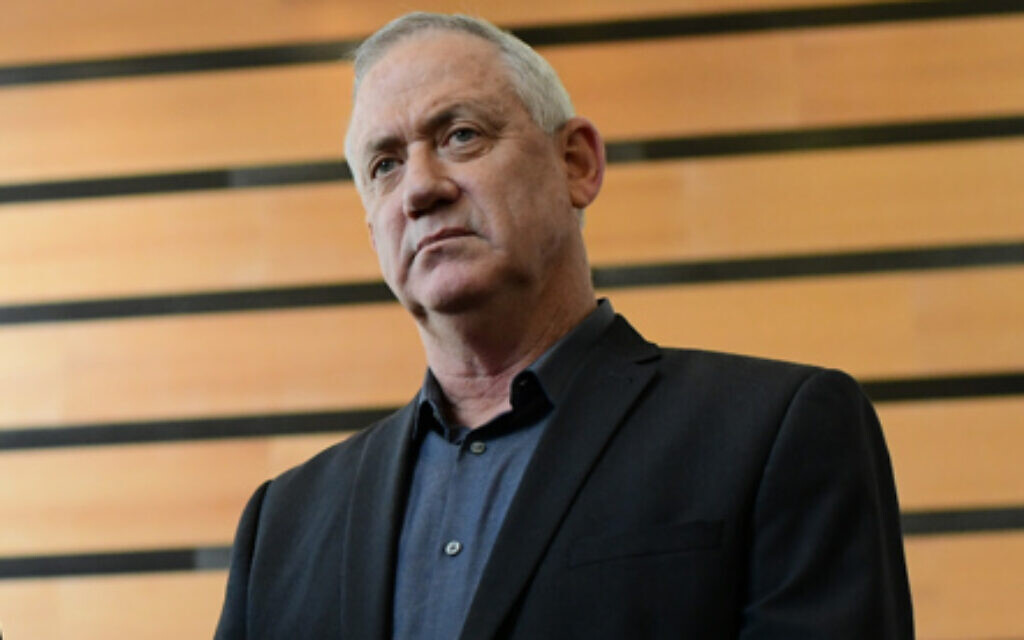 Benny Gantz in Ramat Gan on March 9, 2020 (Tomer Neuberg/Flash90)