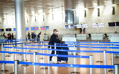 The empty departure hall at the Ben Gurion International Airport on March 11, 2020. (Flash90)