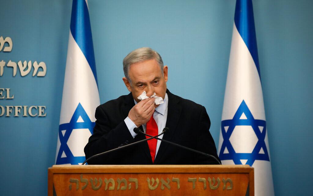 O primeiro-ministro Benjamin Netanyahu em uma conferência de imprensa sobre o coronavírus no Gabinete do Primeiro-Ministro em Jerusalém, em 12 de março de 2020. (Olivier Fitoussi / Flash90)