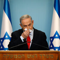 Prime Minister Benjamin Netanyahu at a press conference about the coronavirus at the Prime Minister's Office in Jerusalem on March 12, 2020. (Olivier Fitoussi/Flash90)
