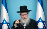 Health Minister Yaakov Litzman speaks during a press conference at the Prime Minister's Office in Jerusalem, on March 12, 2020. (Olivier Fitoussi/Flash90/File)