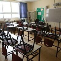 Illustrative: A closed school in the northern Israeli town of Safed on March 13, 2020. (David Cohen/Flash90)