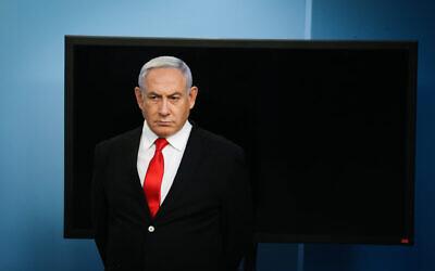 Prime Minister Benjamin Netanyahu holds a press conference at the Prime Minister's Office in Jerusalem on March 12, 2020. (Alex Kolomoisky/Pool/Flash90)