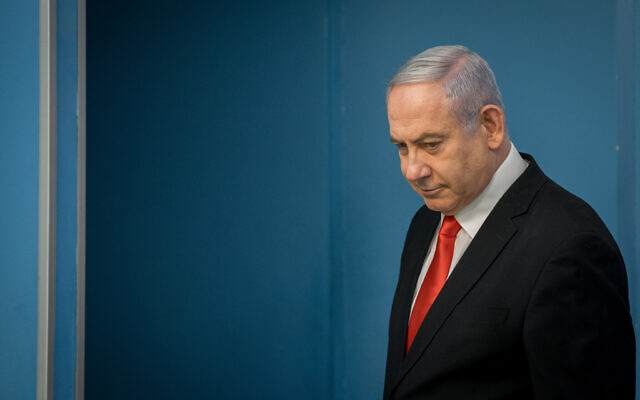 Prime Minister Benjamin Netanyahu holds a press conference at the Prime Minister's office in Jerusalem on March 16, 2020. (Yonatan Sindel/Flash90)