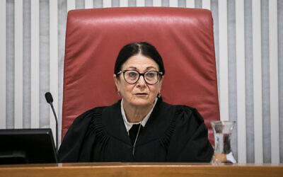 Supreme Court Chief Justice Esther Hayut at a court hearing on the Shin Bet's new emergency powers to track Israelis' movements using their cellphone location data to help combat the spread of the new coronavirus, March 19, 2019. (Olivier Fitoussi/Flash90)