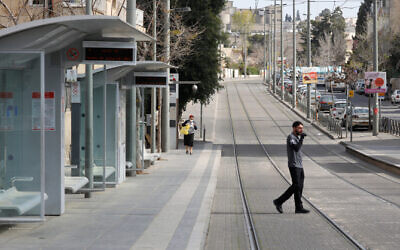 The empty Beit Hakerem neighborhood in Jerusalem on March 25, 2020 (Olivier Fitoussi/Flash90)