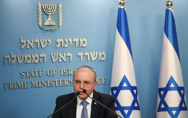 National Security Adviser Meir Ben-Shabbat speaks during a press conference about the coronavirus COVID-19, at the Prime Minister's Office in Jerusalem on March 25, 2020. (Olivier Fitoussi/Flash90)