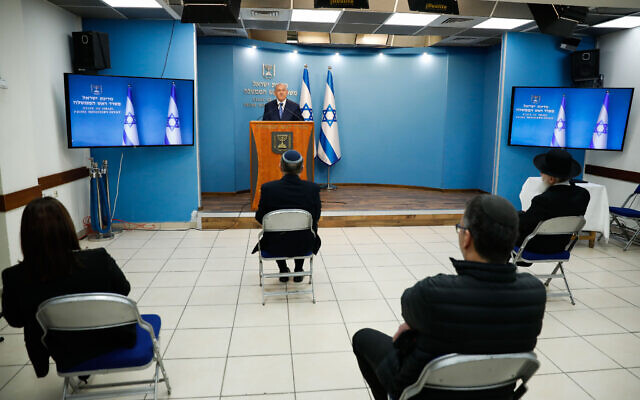 Israeli PM Benjamin Netanyahu speaks during a press conference at the Prime Minister's office in Jerusalem on March 25, 2020. (Olivier Fitoussi/Flash90)