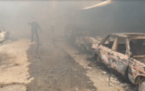 A smoke-filled street in the Nuseirat refugee camp in Gaza after a huge fire broke out on March 5, 2020. (Screenshot: Al-Aqsa TV)