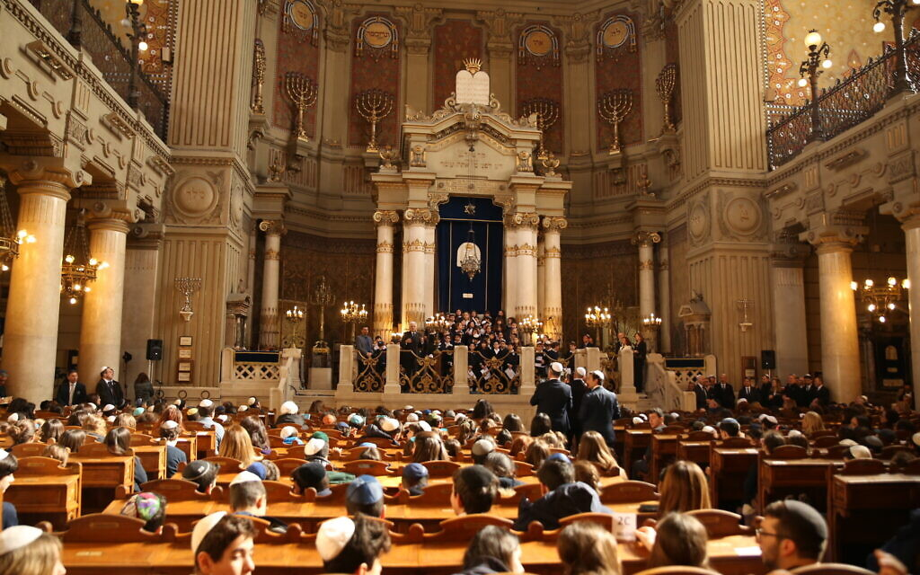 Interior of the Great Synagogue of Rome. (Courtesy)