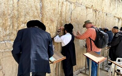 Worshipers at the Western Wall on March 10, 2020. (Jacob Magid/Times of Israel)