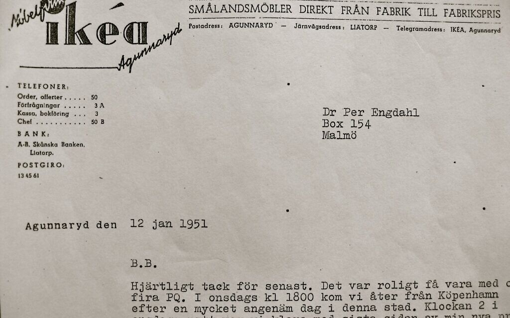 Detail from letter sent from Ingvar Kamprad to the fascist leader Per Engdahl, dated 12 January 1951. The letters begins with BB, 'best brother.' Kamprad starts off by thanking Per Engdahl for their latest get-together. (Elisabeth Åsbrink)