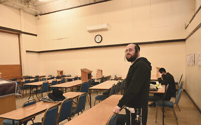 Jacob Gross at the yeshiva and synagogue in the London-area Canvey Island, Dec. 13, 2019. (Cnaan Liphshiz)
