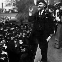 Labour's first leader, Keir Hardie, speaking in Trafalgar Square in 1908. (Public domain)