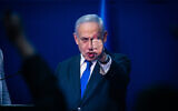 Prime Minister Benjamin Netanyahu addresses supporters at Likud party headquarters in Tel Aviv, on March 3, 2020. (Olivier Fitoussi/Flash90)