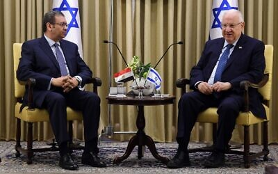 President Reuven Rivlin hosts Khaled Azmi, Egypt's ambassador to Israel, at the President's Residence in Jerusalem on March 26, 2020. (Mark Neyman/GPO)